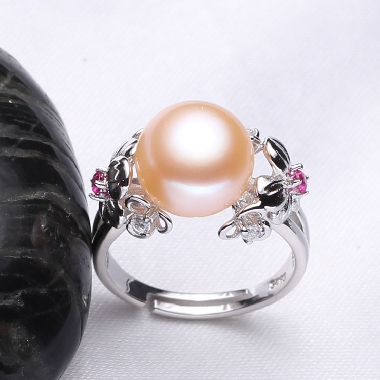 FENASY Big Pearl Jewelry 925 Sterling Silver Ring For Women Natural Freshwater Pearl Ruby Flower Cubic Zirconia CZ Boho Ring