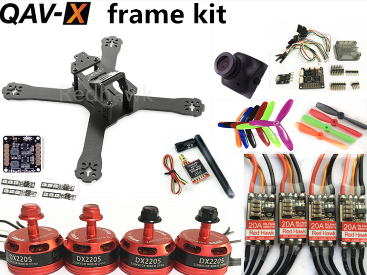 DIY mini drone RED HAWK QAV-X pure carbon 4mm frame kit DX 2205 + BL20A ESC OPTO + F3+OSD/NAZE32 REV6 10DOF/CC3D + FPV camera new qav r 220 frame quadcopter pure carbon frame 4 2 2mm d2204 2300kv cc3d naze32 rev6 emax bl12a esc for diy fpv mini drone
