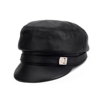 53a672b7c9e0c Harppihop Brand New Genuine Leather Short Brim Flat Hats For Woman Real Cow  Leather Black Yellow
