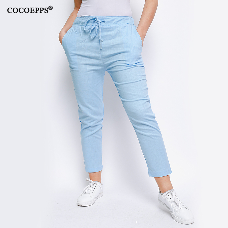 COCOEPPS 2019 Women Fashion Summer Pockets Plus Size Trousers Solid Pencil For Women Spring Large Size Slim Casual Pants M-6XL