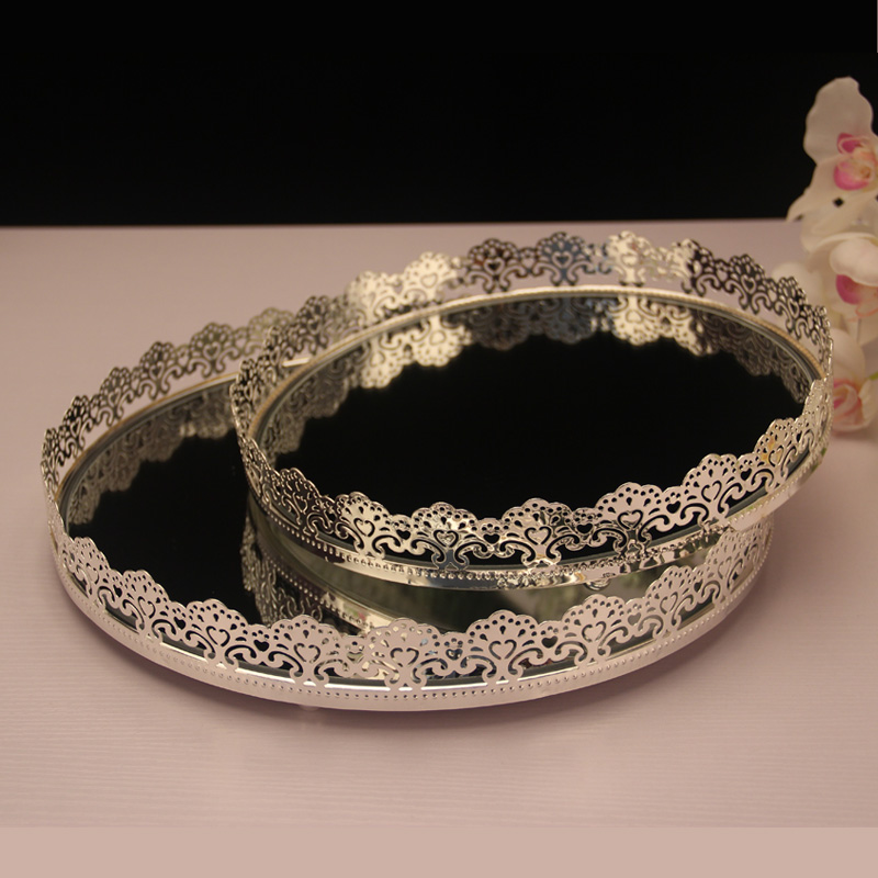 European Style Metal Silver Plated Cake Plate Tray