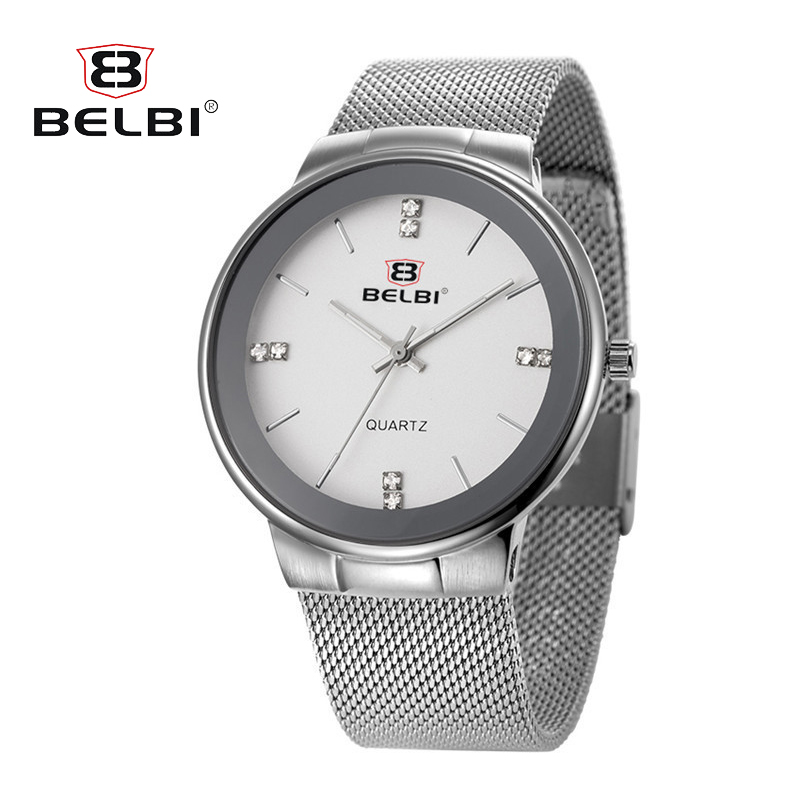 BELBI Brand New Men Luxury Quartz Watch Stainless Steel Fashion Waterproof Sports Watches Relogio Masculino perfeo fitness pf fns blk black
