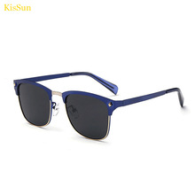 KisSun Ladies Sunglasses Navy Polarized Mirrored UV400 Men Black G ray Fashion Sun Glasses With Brand Logo Packaging 2016 New