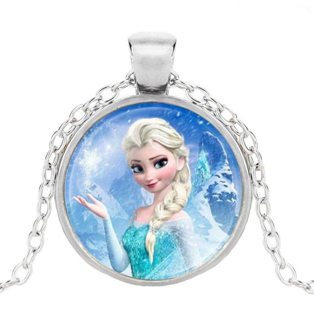 Новая мода популярное женское ожерелье Кристалл ювелирные изделия выпуклая круглая Принцесса Подвеска Ожерелье Девушка - Окраска металла: 12