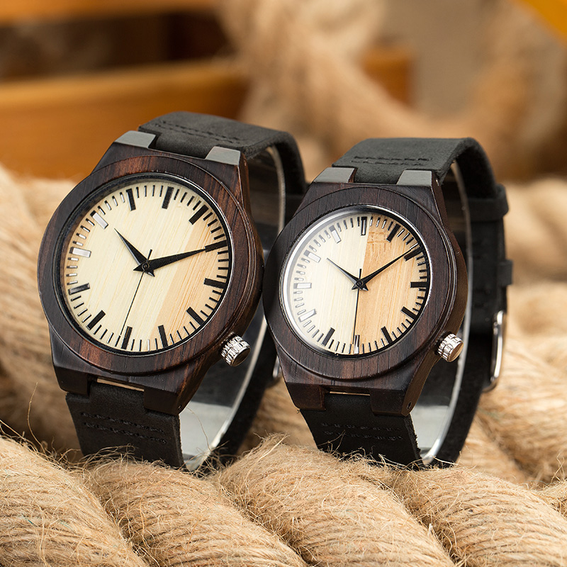 SIHAIXIN 2018 Wooden Couple Watch bracelet Men Leather Strap Luxury Brand Round Ladise Watches cheap Quartz Wristwatch Gift Box sihaixin clock man wood watch luxury brand quartz wristwatch with wooden band watches creative gift for men women reloj de mader