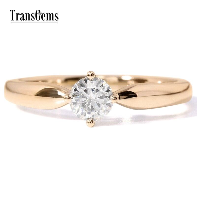 Transgems 14k White Gold 0.5 carat Diameter 5mm F Color Moissanite Engagement Ring For Women Solitare цены онлайн