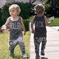 Conjuntos de Roupas de bebê Meninos Meninas Roupas Casuais Terno das Crianças Sem Mangas Blusa + Calça Haroun Crianças Verão Definir