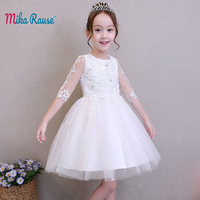 Lxuxury Children's dresses for girls white girls dress brand girl long sleeve party kids dress summer birthday princess dress