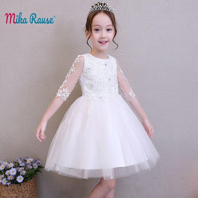 Lxuxury robes pour enfants pour filles blanc filles robe marque fille à manches longues fête enfants robe d'été anniversaire robe de princesse