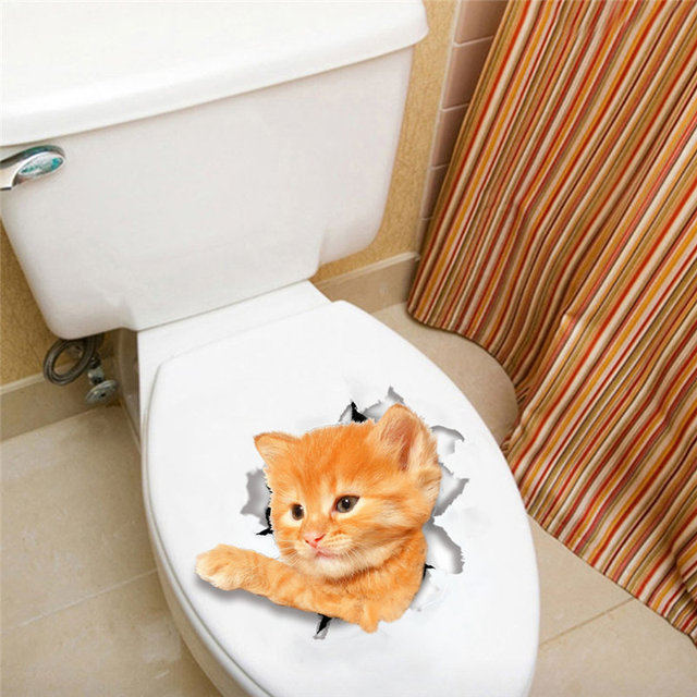Lovely Cat Kitten Toilet Seat Stickers Restroom Decoration 3d Animals Pet Home Mural Art Diy Wall & Lovely Cat Kitten Toilet Seat Stickers Restroom Decoration 3d ...