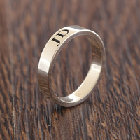 Customized Engraving Name Engagement Rings Lovers' Initals Letters Silver Rings Personalized Pure Sterling Silver Wholesale