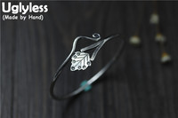 Uglyless Real S 925 Sterling Silver Vintage Ethnic Women Handmade Leaf Bangles Bohemian Curved Opening Thin Bangle Fine Jewelry
