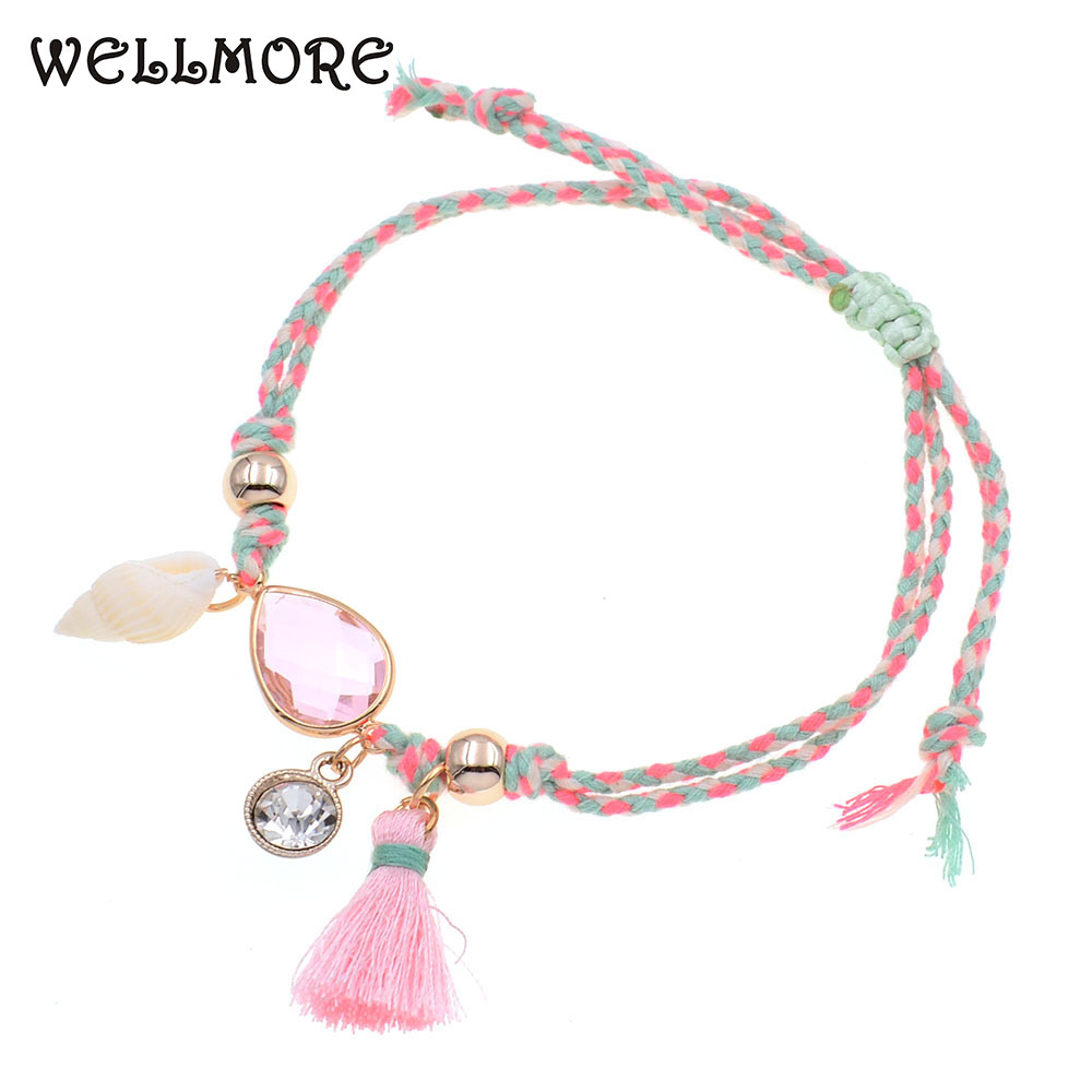 WELLMORE Anklets for women handmade shell /crystal BOHO Anklet bracelets summer Beach Party Foot Jewelry drop shipping wholesale