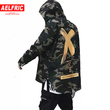 AELFRIC Big Letter X Coat Camo Red Yellow Military Hoody Windbreakers Hip Hop Jackets