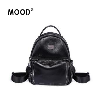 MOOD backpack Genuine Leather large capacity personality fashion leisure joker backpack quality assurance Free shipping все цены