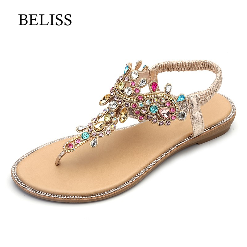 BELISS 2019 Flats Woman Sandals T-Strap Fashion Female Shoes Peep Toe Rhinestones Summer Flats Sandals Flip Flops Women S66