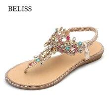 BELISS 2019 Flats kadın sandalet t kayışı moda kadın ayakkabısı Peep Toe Rhinestones yaz Flats sandalet Flip flop kadınlar S66
