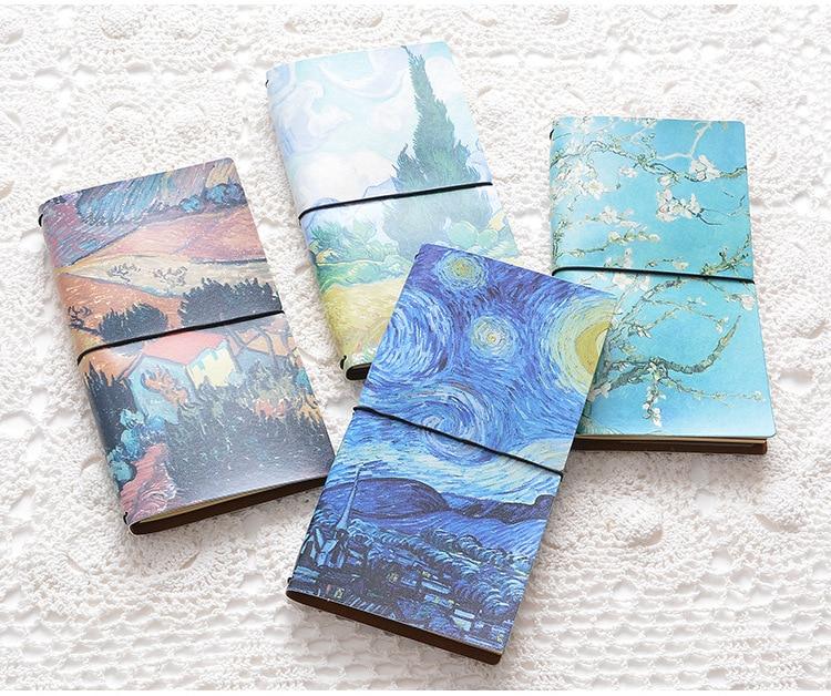 Vintage Van Gogh PU Leather Cover belt Band  Notebook настенные часы vincent van gogh fd8635