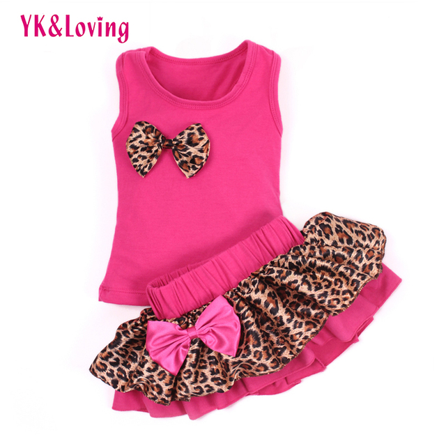 Summer Children Baby Girls Clothing Cotton Rose Red Vest T Shirt  + Leopard Tutu Skirt 2Pcs Sets Suite 4 Color Kids Girl Clothes