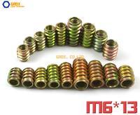 80 Pieces M6 x 13mm Furniture Nut Wood Insert Nut Dowel Screw Fixing for Furniture Leg