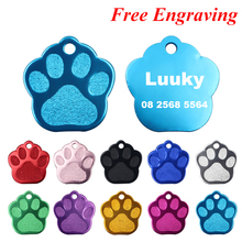 2pcs/lot Engraved Dog Name Tag Paw Pet For Dogs Customized Tags Puppy Collar Accessories Cat ID 28*26mm