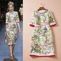 spring big European and American women's luxury fashion catwalk retro jacquard dress half sleeve flower print dress