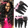 Rosa Hair Products Brazilian Loose Wave with Closure 4PCS Brazilian Virgin Hair 3 Bundles with Closure VIP Beauty Brazilian Hair