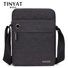 TINYAT Canvas Men's Shoulder Bag Headphone Plug Casual Crossbody Bag for 9.7 Ipad Men's Business bag for men short travel gray(China)