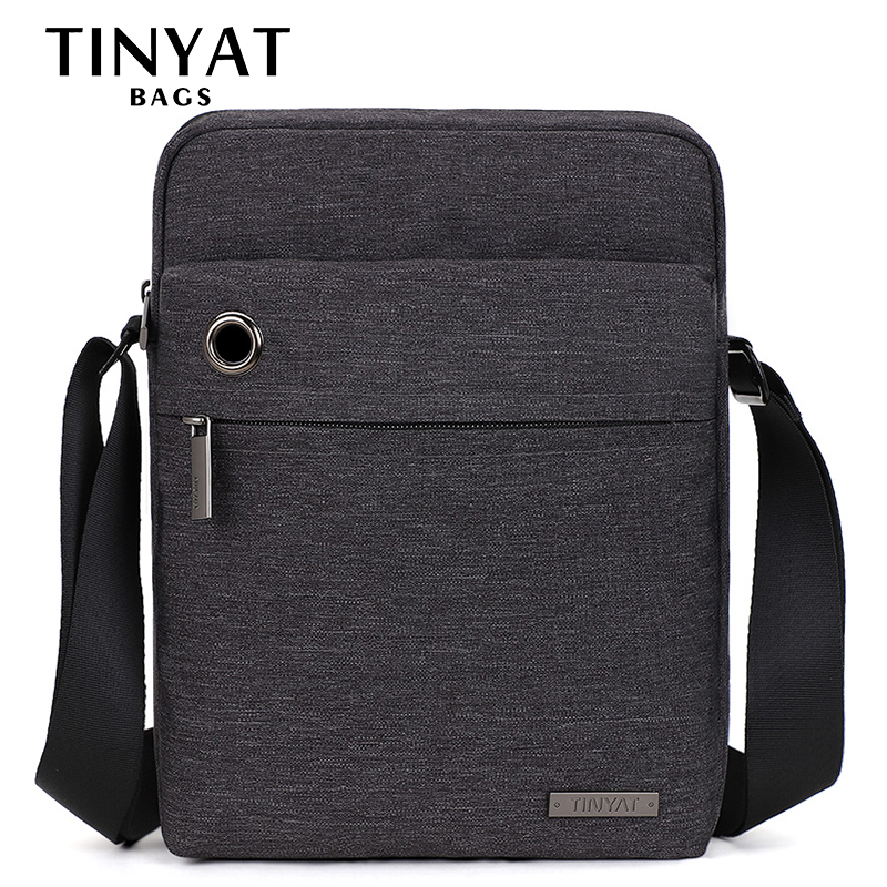 TINYAT Men's Bag Gray Shoulder Bag For 9.7'pad Student Bag Waterproof Business Travel Crossbody Bag Canvas Casual Messenger Bag