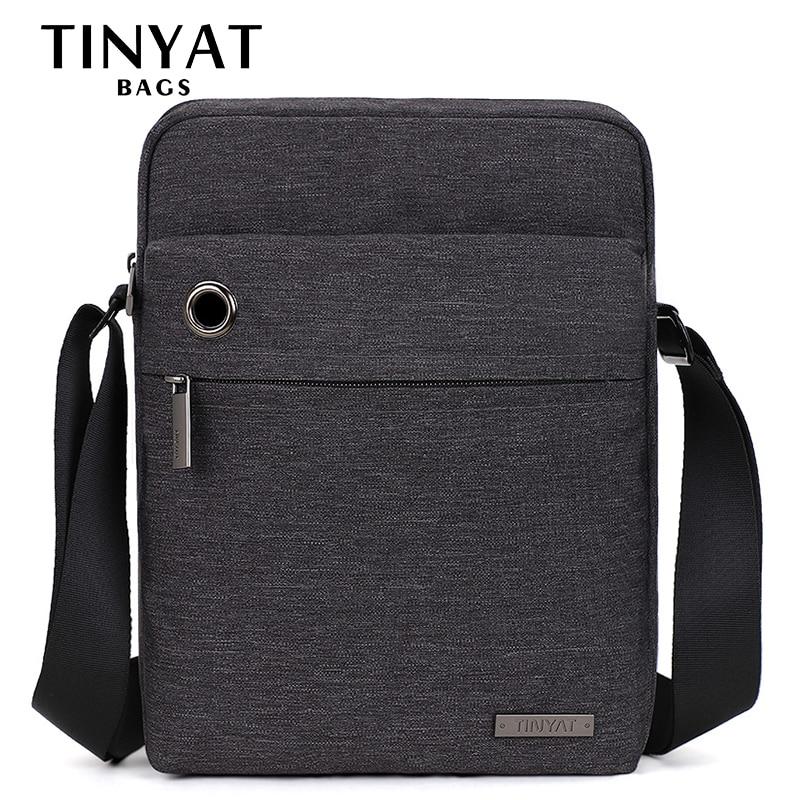 TINYAT Men's Bag Gray Shoulder Bag For 9.7'pad Student Bag Waterproof Business Travel Crossbody Bag Canvas Casual Messenger Bag
