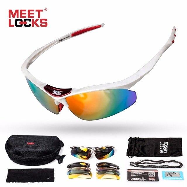 c6afa505b2 MEETLOCKS lunettes de soleil sport lentille polarisée avec 5 lentilles  interchangeables et corde réglable UV400 Protection