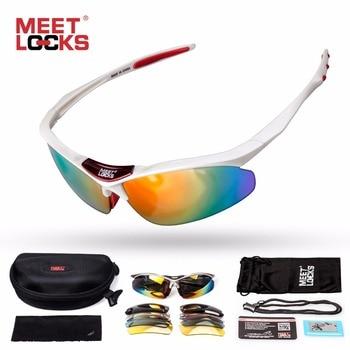 Meetlocksスポーツサングラス偏光レンズ付き5交換可能レンズと調節可能なロープuv400保護アイゴーグルサイクリング
