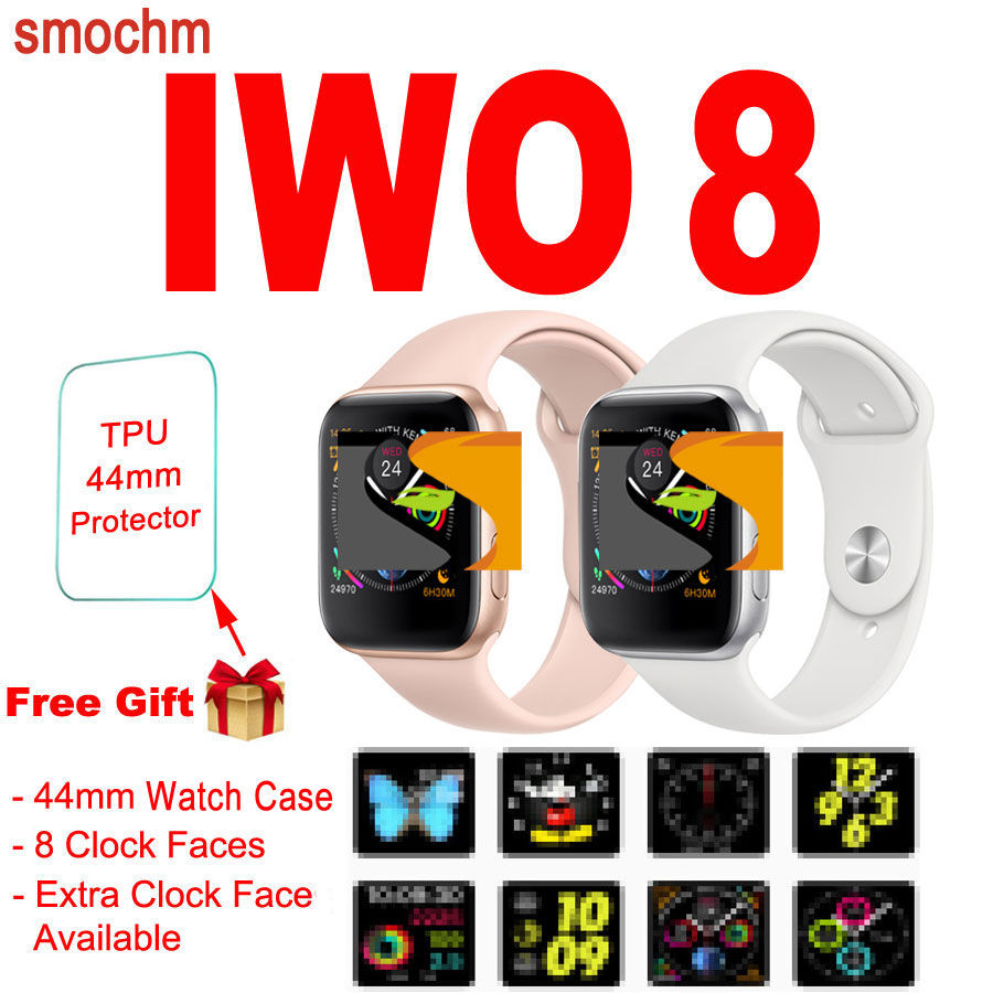 Smochm 44MM IWO 8 New Smart Watch Bluetooth 1 1 Series 4 Wireless Charger Strap replaceable