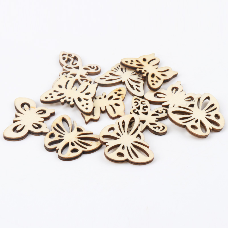 Natual Butterfly Pattern Wooden Scrapbooking Art Collection Craft For Handmade Accessory Sewing Home Decoration 30mm 20pcs MZ168