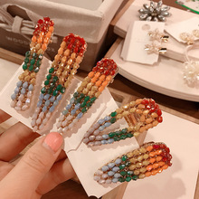 Women Hair Clips Gradient rainbow hairpins bangs clip hair accessories duckbill girl side hiarpins A30