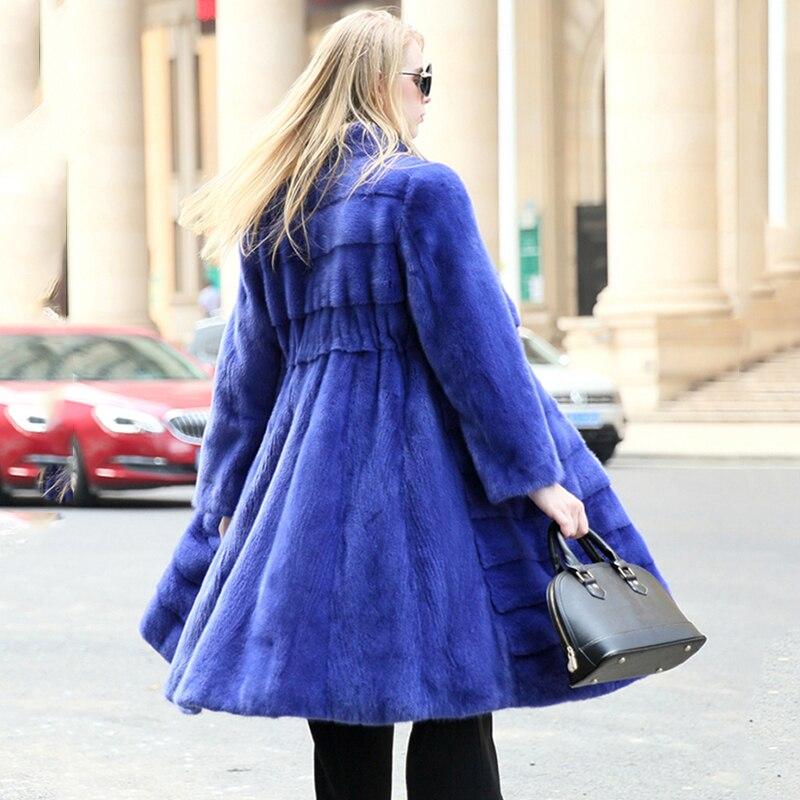 Naturel M Moyen Femmes Mince Mandarin Col Hiver Manches Manteau Y Perte Bleu Manteaux Vison De Longues Fourrure Jupe Causal Réel 2019 Fansty À XvrpHqX