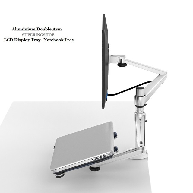 Aluminum Dual Arm Desktop Monitor Stand Laptop Holder Stand Table