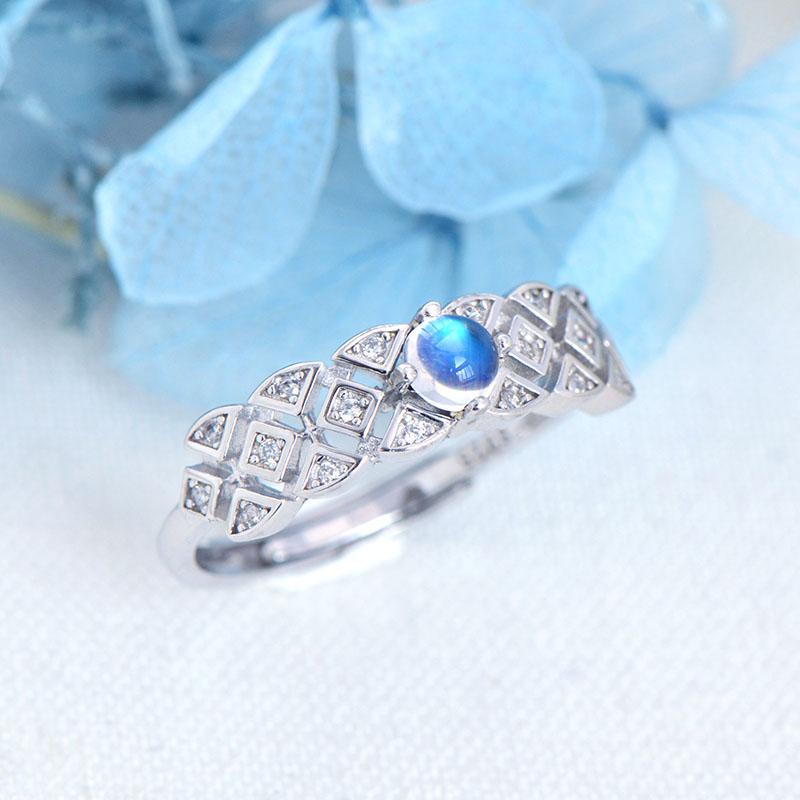 Sri Lanka Bleu Anneau De Pierre De Lune Pour Dame Authentique 925 Réglables En Argent Sterling Bague Bijoux Pour Mariage Fiançailles Gift2019