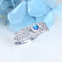 Sri Lanka Blue Moonstone Ring For Lady Authenic 925 Sterling Silver Adjustable Ring Fine Jewelry For Wedding Engagement Gift2019