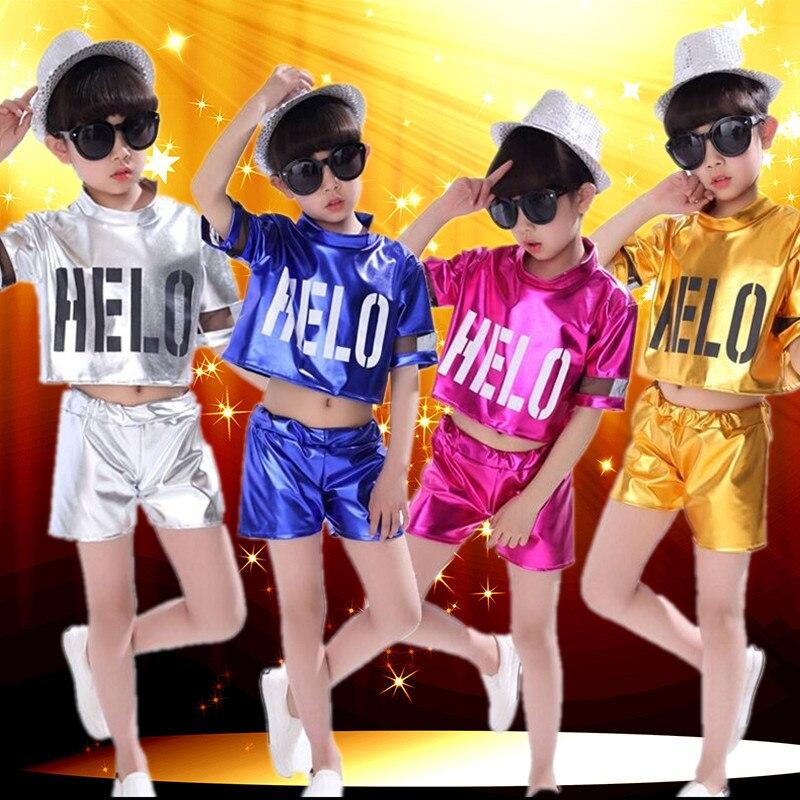 Girl Jazz Dance Girls Costumes for Kids Hip Hop Dancing Children Performance Costume For Shirt Pant