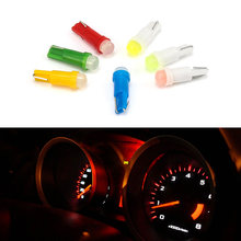 10PCS T5 LED Car Interior Dashboard Gauge Instrument Car Auto Side Wedge Light Lamp Bulb DC 12V White Red Blue Yellow Green(China)
