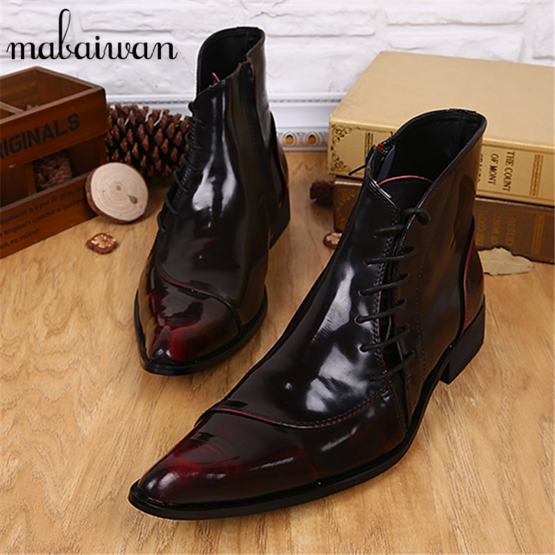 Fashion Wine Red Side Zipper Men Ankle font b Boots b font Genuine Leather Lace Up