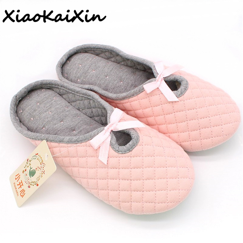 Simple Bowtie Spring Air Cotton Women Home Slippers For Indoor House Soft Bottom Cotton Warm Shoes Adult Guests Flats PantufaSimple Bowtie Spring Air Cotton Women Home Slippers For Indoor House Soft Bottom Cotton Warm Shoes Adult Guests Flats Pantufa