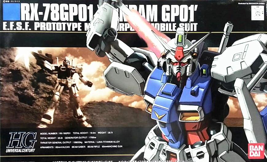 1PCS bandai 1/144 HGUC 013 Gundam RX-78 GP01 Gundam Mobile Suit Assembly Model Kits Anime action figure lbx toys bandai bandai gundam model sd q version bb 309 sangokuden wu yong bian xiahou yuan battle