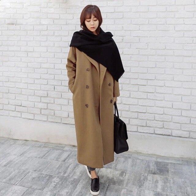 2017 Женщин Harajuku Корейской Зимой Шерстяной Жакет Двубортный Длинный Абзац Свободные Прямые Шерстяные Женские Пальто Для Женщин