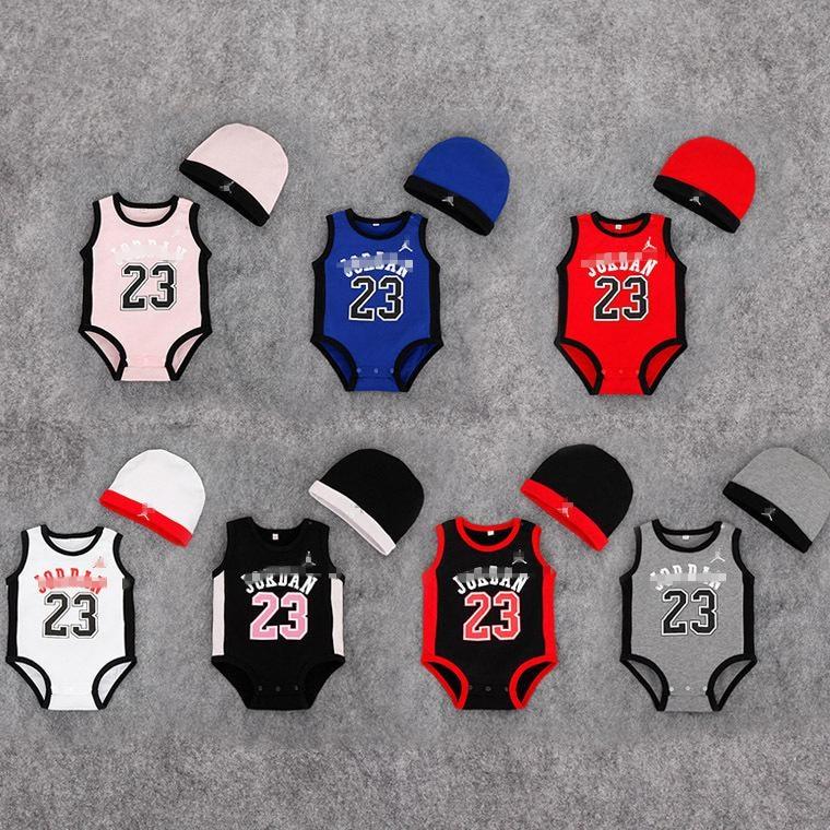 Jumpsuit Real 2016 100% Cotton Newborn Jordan 23 Baby Boy Girl Sleeveless Romper Roupas Newborn-baby-layette Bodies Clothing