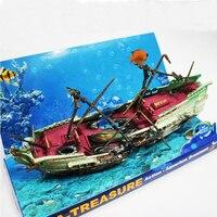 Akvaryum eylem süsleme reçine bölünmüş batığı hava pompası için sürücü oyuncaklar dekorasyon balık tankı