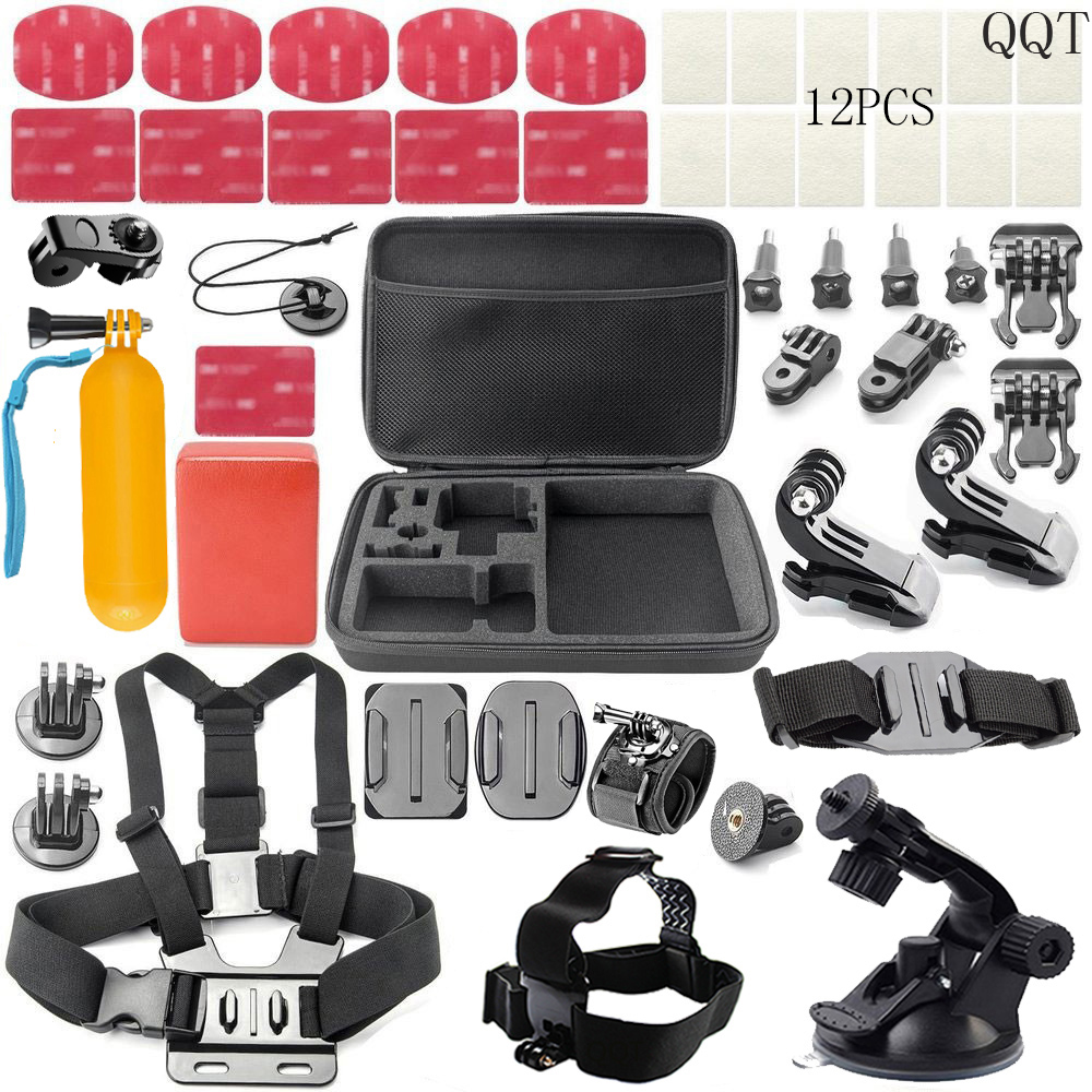 QQT For Gopro Accessories mounting kit for gopro hero 6 5 4 3 for xiaomi yi 4 K for SJCAM for SJ4000 for sj5000 Sports camera штатив floating bobber gopro gopro hero3 hero3 hero2 sj4000 sj5000 for hero 1 2 3