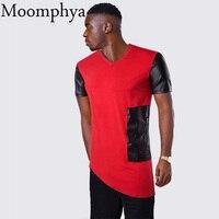 Moomphya 2017 new Men patchwork slanting hem t shirt leather patchwork sleeve t-shirt left side leather patch zip t shirt men