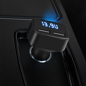 Image 2 - Dual USB Car Charger 4 in 1 Thermometer Digital Display Charging Cigarette Lighter Car Charger Digital Display For Mobile Phone